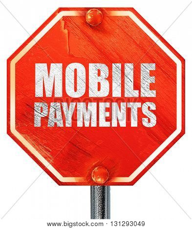 mobile payments, 3D rendering, a red stop sign