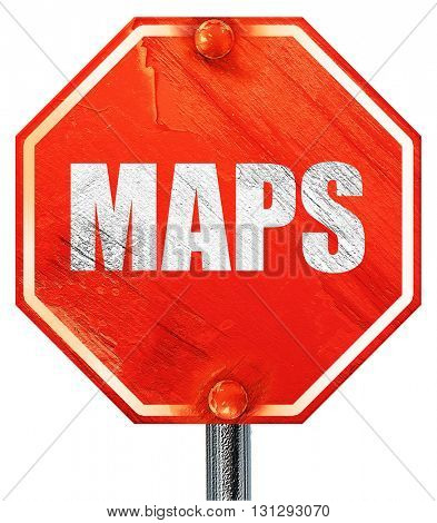 maps, 3D rendering, a red stop sign