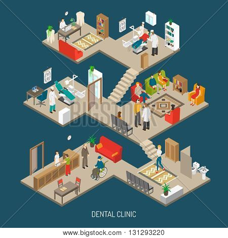 Dental practice clinic building isometric composition poster with operation room  doctor office and reception abstract vector illustration