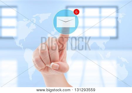 New Emails Inbox Futuristic Concept With Finger Pressing Digital Envelope