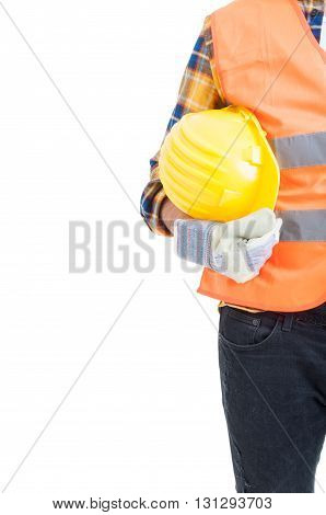 Protection Equipment Or Uniform Concept With Engineer Holding Yellow Helmet