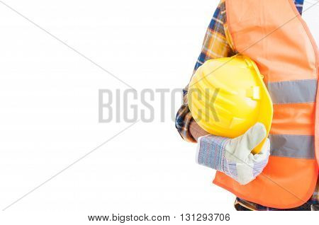 Close-up Workwear And Helmet In Engineer Or Constructor Hand