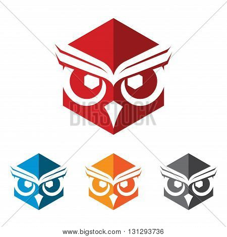 Logo Symbol of Wise Hexagon Owl Abstract