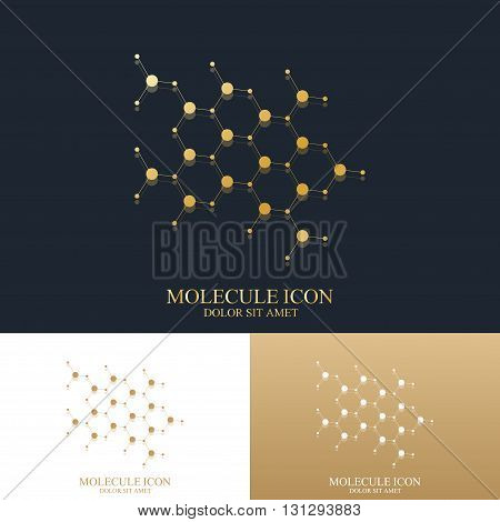 Modern set logotype icon dna and molecule. Neuron logo. Molecule golden Logo. Gold atom Logo. Molecule background. Vector template for medicine, science, technology, chemistry, biotechnology