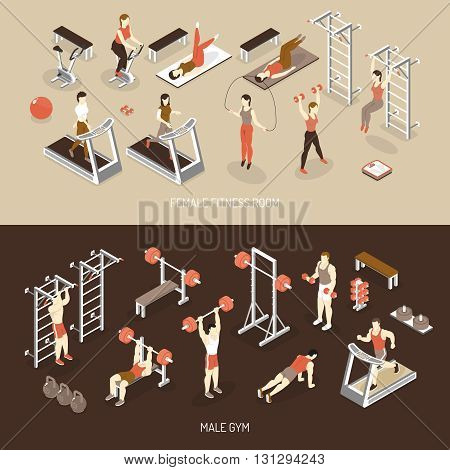 Fitness isometric horizontal banners with female training room male gym scales ladder weight dumbbells isolated vector illustration