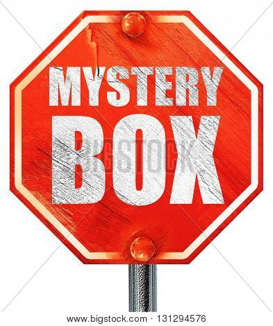 mystery box, 3D rendering, a red stop sign