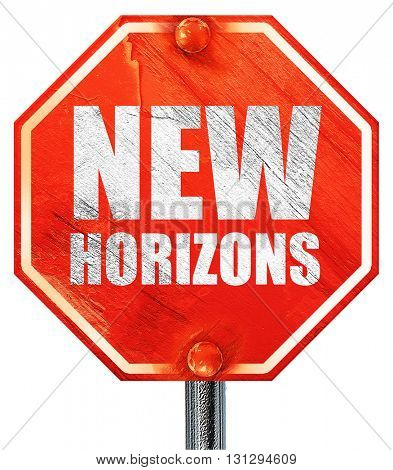 new horizons, 3D rendering, a red stop sign