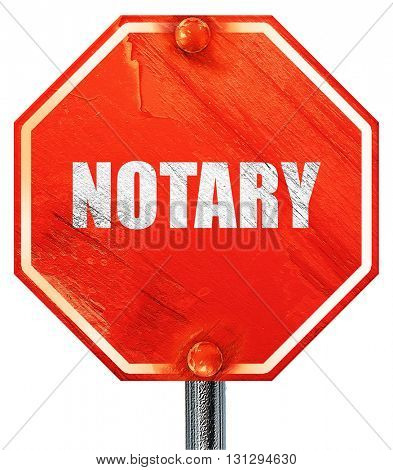 notary, 3D rendering, a red stop sign