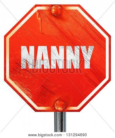 nanny, 3D rendering, a red stop sign