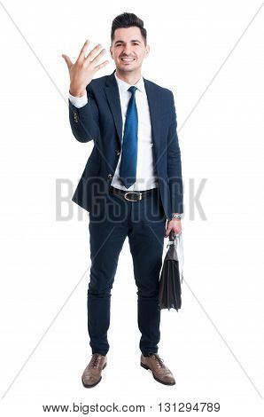 Sales Man Standing Holding Briefcase And Showing Number Five
