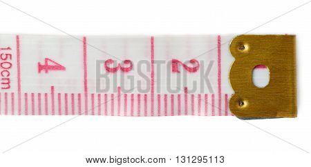 Red Tailor measuring tape isolated over the white background