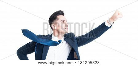 Business Man Flying Gesture With Necktie Blowing