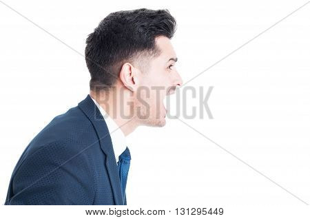 Side View Of Banker Boss Or  Manager Yelling And Shouting