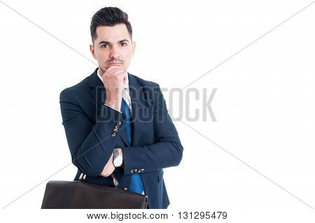 Handsome Salesman On White Copy Space