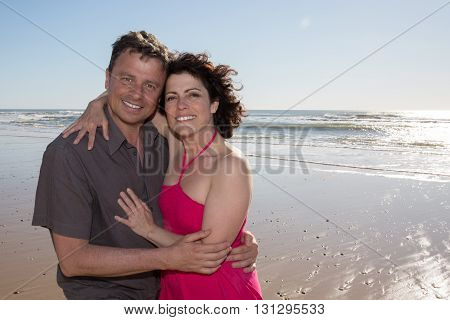 Closeup Of Loving Couple Spending Leisure Time Together At Beach