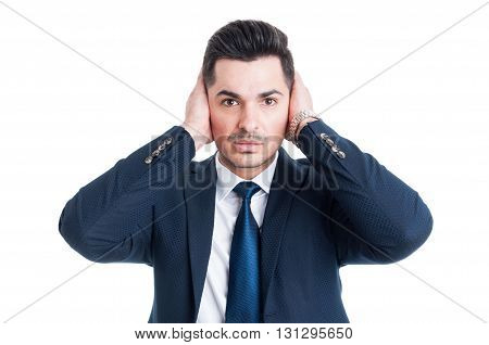 Lawyer Or Broker Covering His Ears With Palms