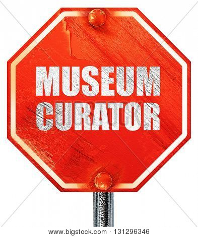 museum curator, 3D rendering, a red stop sign