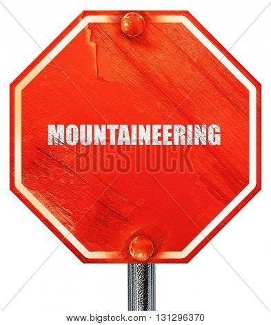 moutaineering, 3D rendering, a red stop sign