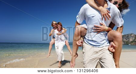 Couple Beach Lifestyle Nature Traveling Trip Concept