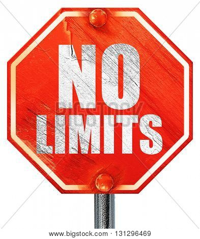 no limits, 3D rendering, a red stop sign