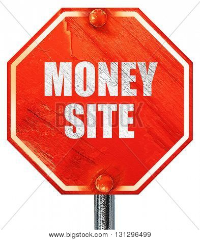 money site, 3D rendering, a red stop sign