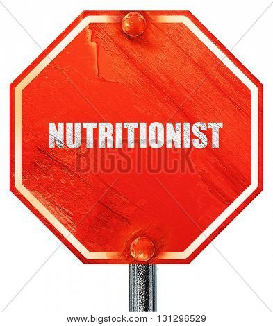 nutritionist, 3D rendering, a red stop sign