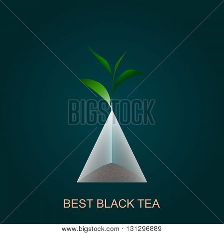 Isolated pyramid of black tea with branch. Vector illustration. Background.