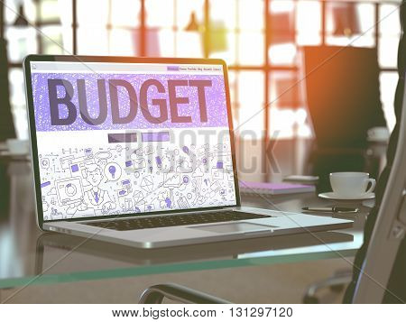 Budget Concept. Closeup Landing Page on Laptop Screen in Doodle Design Style. On Background of Comfortable Working Place in Modern Office. Blurred, Toned Image. 3D Render.