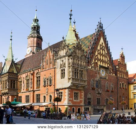 WROCLAW, POLAND - SEPTEMBER 05, 2010: The ancient Town Hall on the Market square in Wroclaw city in Poland. The town hall was built and developed from the 13th to the 16th century. It is used today for civic and cultural events. In addition it houses a mu