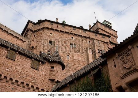 The walls of Haut-Koenigsbourg castle in Alsace France. The castle was known from 1147. It was abandoned during Thirty Years' War and was restored in 1900.