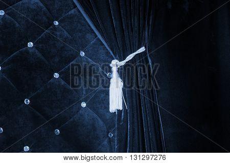 dark blue cloth velvety texture and curtain.