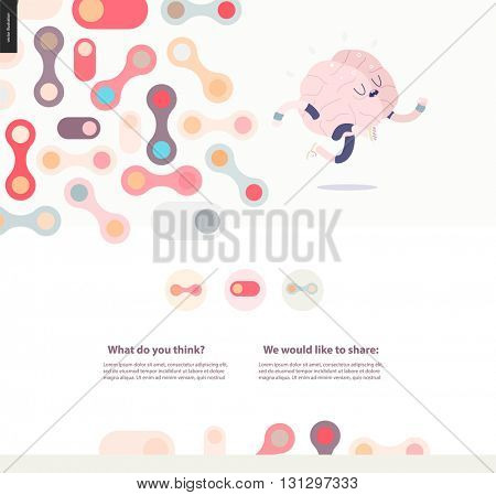 Running brain template design web mockup vector banner - rounded pastel colored shapes isolated on cream background accompanied with a title and text block template and running brain