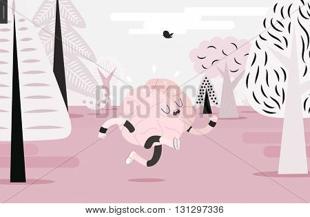 Brain running through the forest - a vector illustration of a running brain wearing sporting wear running among the trees, pink version