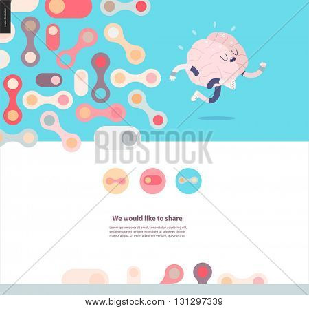 Running brain template design web mockup vector banner - rounded pastel colored shapes isolated on blue background accompanied with a title and text block template and running brain