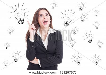 Attractive Cheerful Business Woman Having A Revelation And Pointing Up