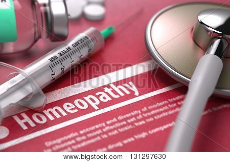 Homeopathy. Medical Concept with Blurred Text, Stethoscope, Pills and Syringe on Red Background. Selective Focus. 3D Render.