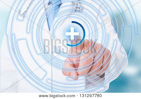 Medic Hand Pointing On The Medical Sign On Touchscreen