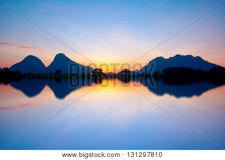 Beautiful Dramatic View Of Nature Landscape Will Full Reflection In The Morning.