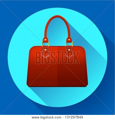 Red fashion women hand bag icon. Flat design style