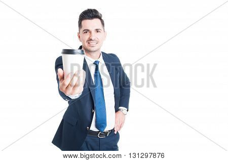 Joyful Young Salesman In Suit Giving A Cup Of Coffee
