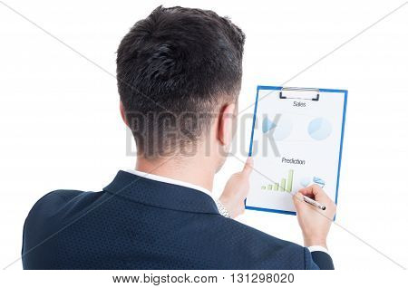 Back View Of Successful Salesman Holding Clipboard With Charts
