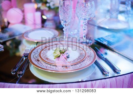 Serving table prepared for event party or wedding.