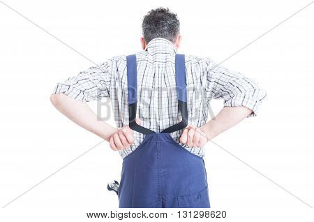 Back View Of Mechanic Wearing Blue Overalls For Work Protection