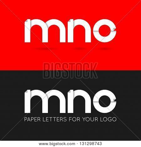 letter M N O logo paper set background 10 eps