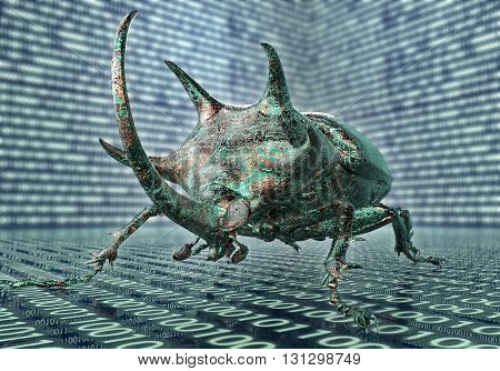 Digital Safety Concept Computer Bug In Electronic Environment,