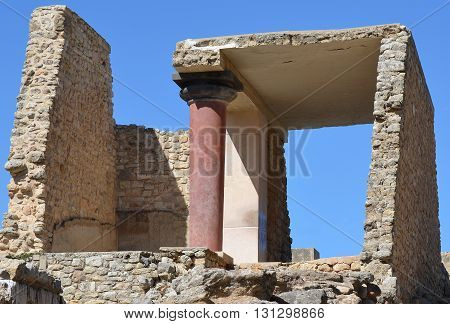 Ruins at Knossos Palace Archaeological Tourist Attraction in Crete, Greece