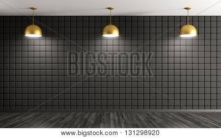 Golden Lamps Against Of Wall Interior Background 3D Rendering