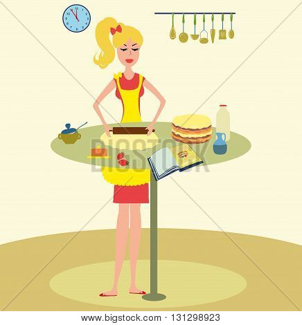 Woman baking cake in kitchen vector illustration. Girl cooking cake for cookbook. Pretty Woman baking cake vector. Housewife cooking for cookbook.Housewife in the kitchen.