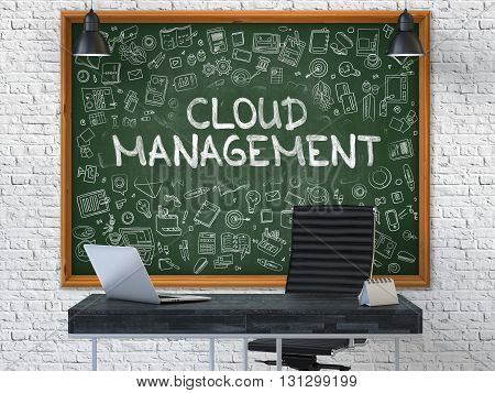 Green Chalkboard on the White Brick Wall in the Interior of a Modern Office with Hand Drawn Cloud Management. Business Concept with Doodle Style Elements. 3D.
