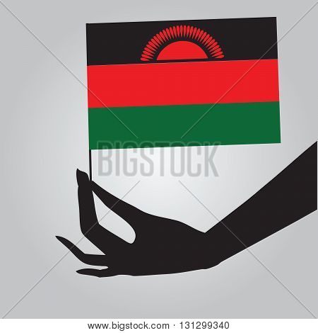 Flag of Malawi in a female hand. Vector illustration.